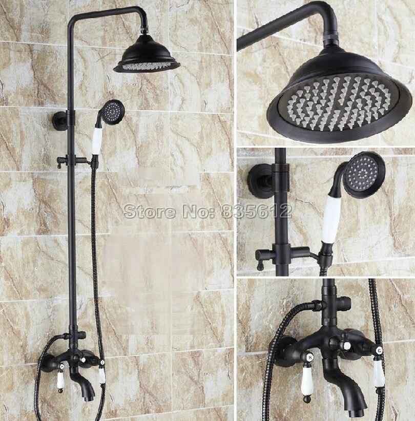 Wall Mounted Black Oil Rubbed Bronze Bathroom Rainfall Shower Faucet Set + Ceramic Handles Bathtub Mixer Tap + Hand Spray Whg048