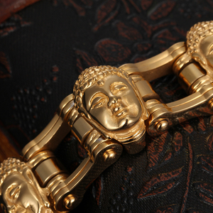 Image 4 - Cool Jewelry Heavy 155g Gold Stainless Steel Biker Motorcycle Chain Mens Gifts Buddha Head Bracelet 8.8 20mm