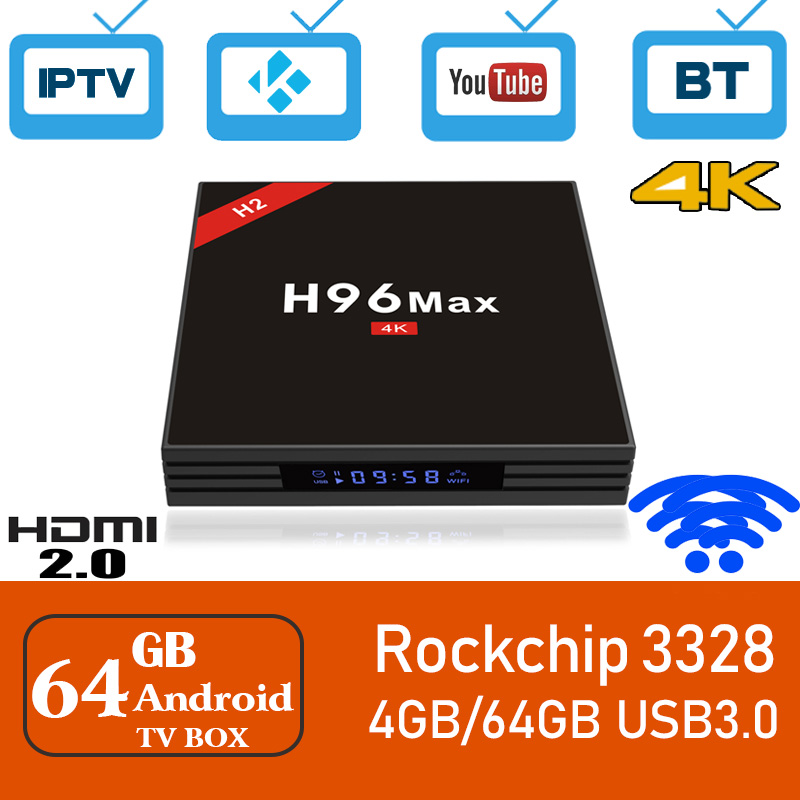 все цены на Xinways2018 Nuovo H96 MAX H2 Smart TV Box Android 7.1 RK3328 Quad Core 4 gb/64 gb 4 k VP9 HDR10 WiFi Bluetooth 4.0 Media Player