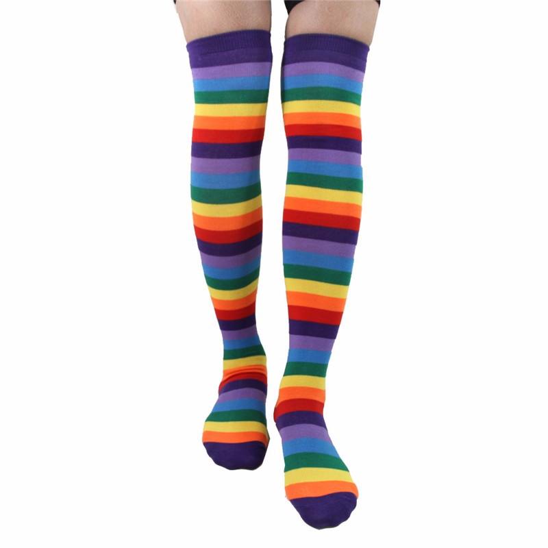 Colorful Rainbow Knee High Socks