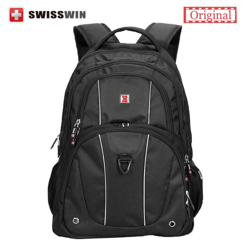 Swisswin Men's Backpack Swissgear 15.6' Laptop Backpack Male Large Capacity Travel Backpack for Computer mochila masculina swisswin black business backpack sw9218 male swiss 15 6 computer swissgear wenger bag 23l mochila