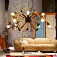 Flexível Industrial luzes pingente Vintage madeira aranha estilo Loft americano Edison Hanglamp luminárias para casa iluminação Droplight
