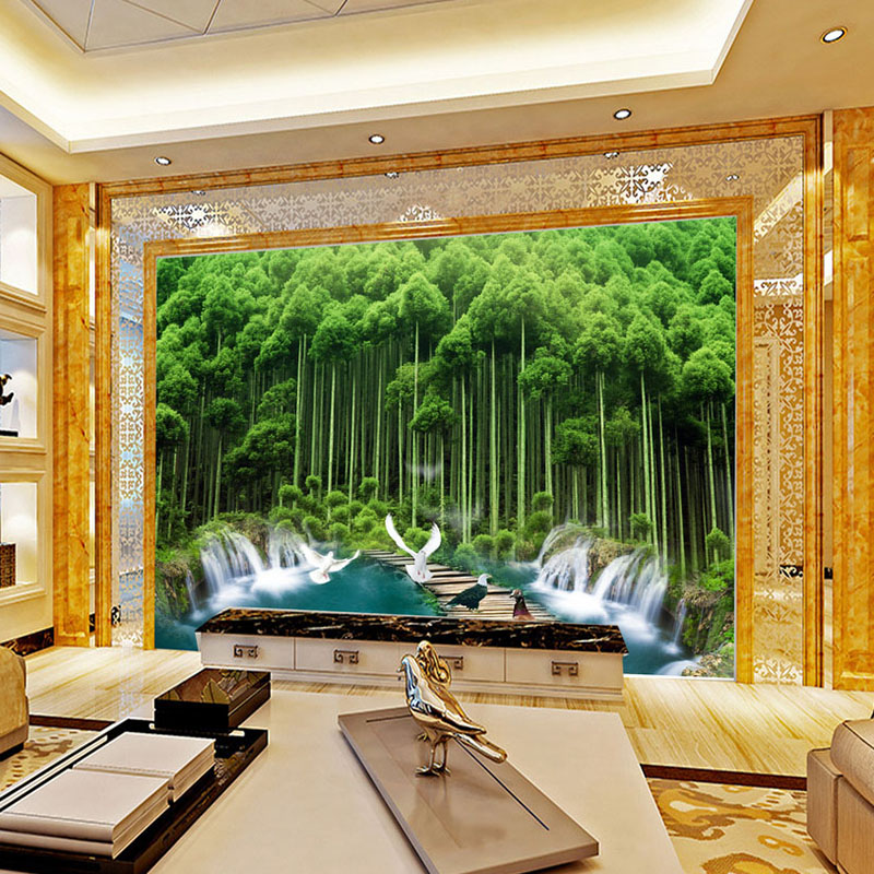 Custom Photo Wallpaper Murals 3D Green Forest Large Mural Wallpaper For Living Room Sofa TV Background Decor Papel De Parede 3D custom green forest trees natural landscape mural for living room bedroom tv backdrop of modern 3d vinyl wallpaper murals