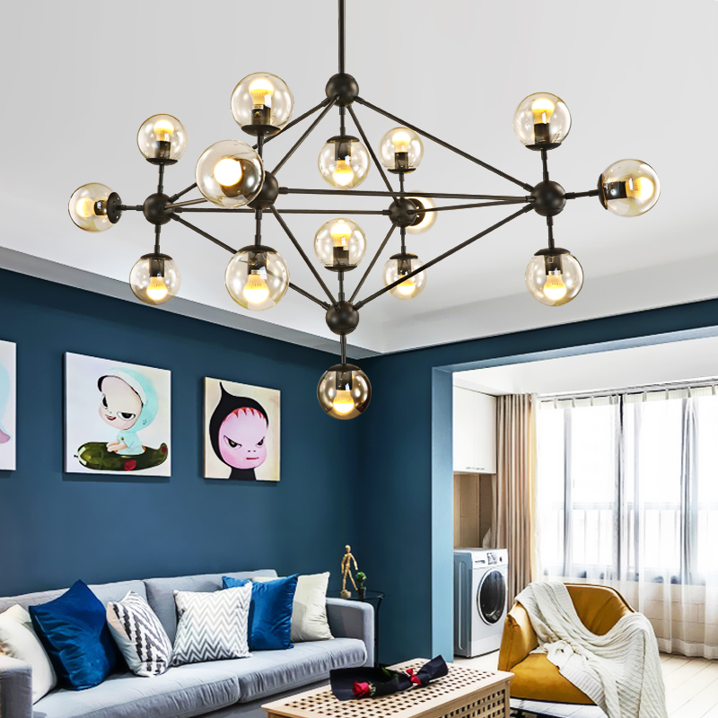 Nordic postmodern vintage pendant lights iron glass ball Loft American Industrial E27 Edison bulb home decoration pendant lamp nordic american edison bulb loft industrial glass stone point ceiling lamp vintage pendant lights cafe bar dining room light