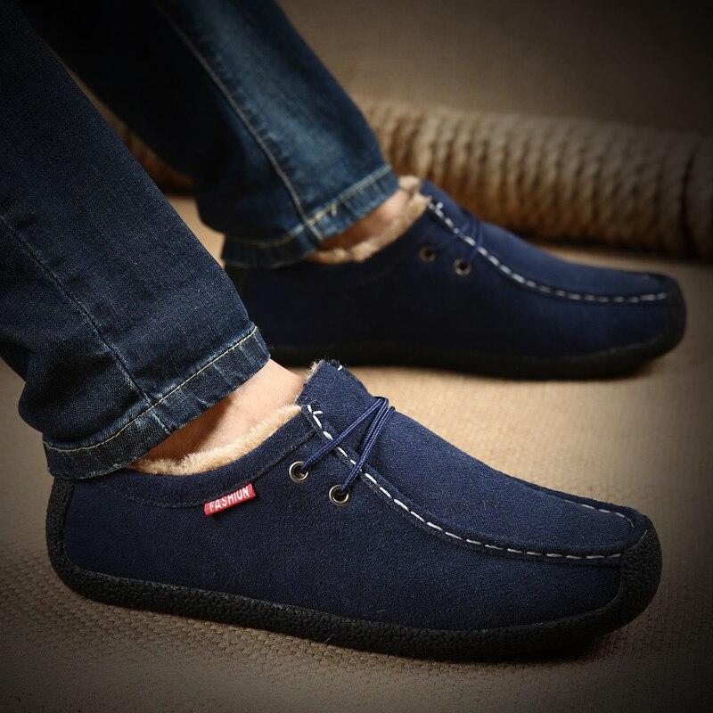 Mens Winter Fur Shoes Big Size 39 48 Suede Men Shoes Dark Blue Black Man Casual Shoes Comfortable Vintage Footwear Male