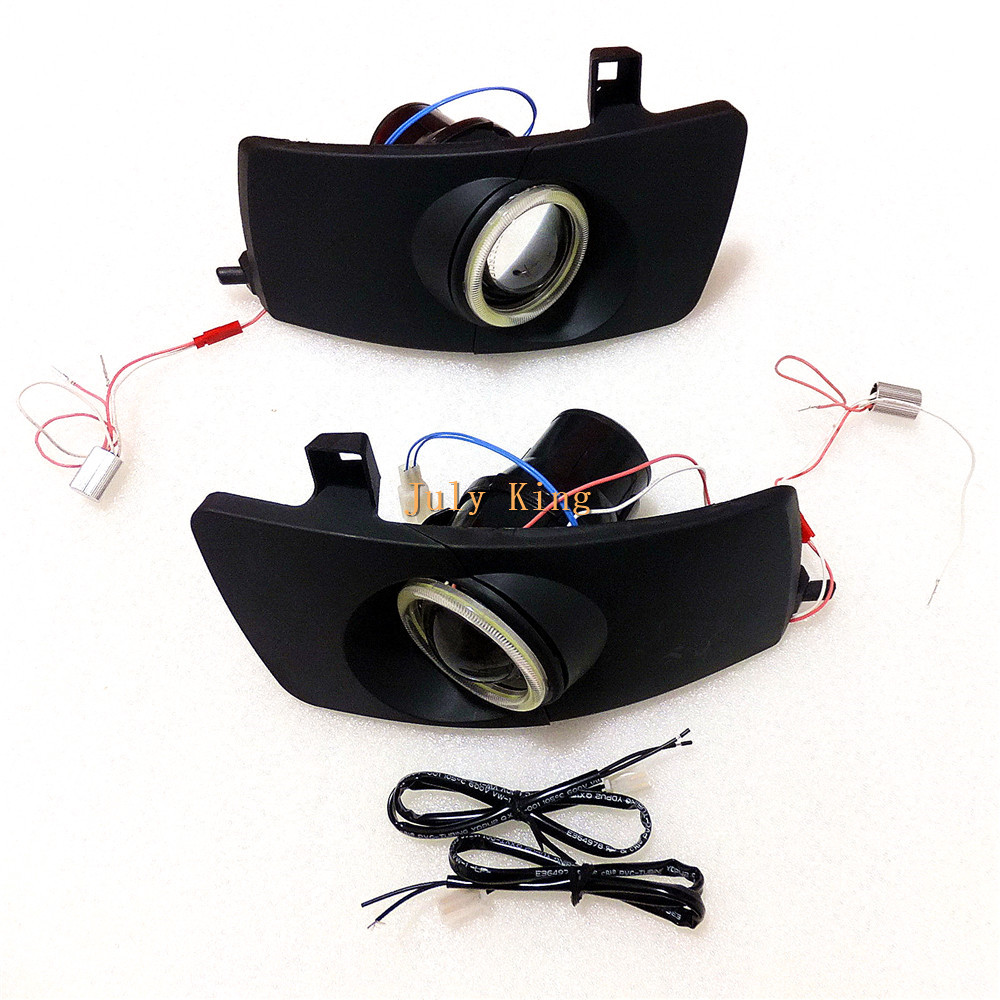 July King Car Bifocal Lens Fog Lamp Assembly With LED COB Angel Eye DRL case for Toyota Corolla 2003~07 Kijang Innova 2004~09 july king bifocal lens fog lamp cob angel eye rings drl case for suzuki alto sx4 swift splash daci a mazda bt 50 fiat dfmc etc