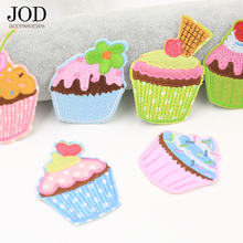 JOD 6PCS Lot Cake DIY Patch Applique Decorative Stickers Embroidery Iron on Patches for Clothing Badge Fabric Women Jacket Jeans jod 10 4cm 67 wing diy iron on decorative biker patches for clothes applications embroidery patch applique stickers badge fabric