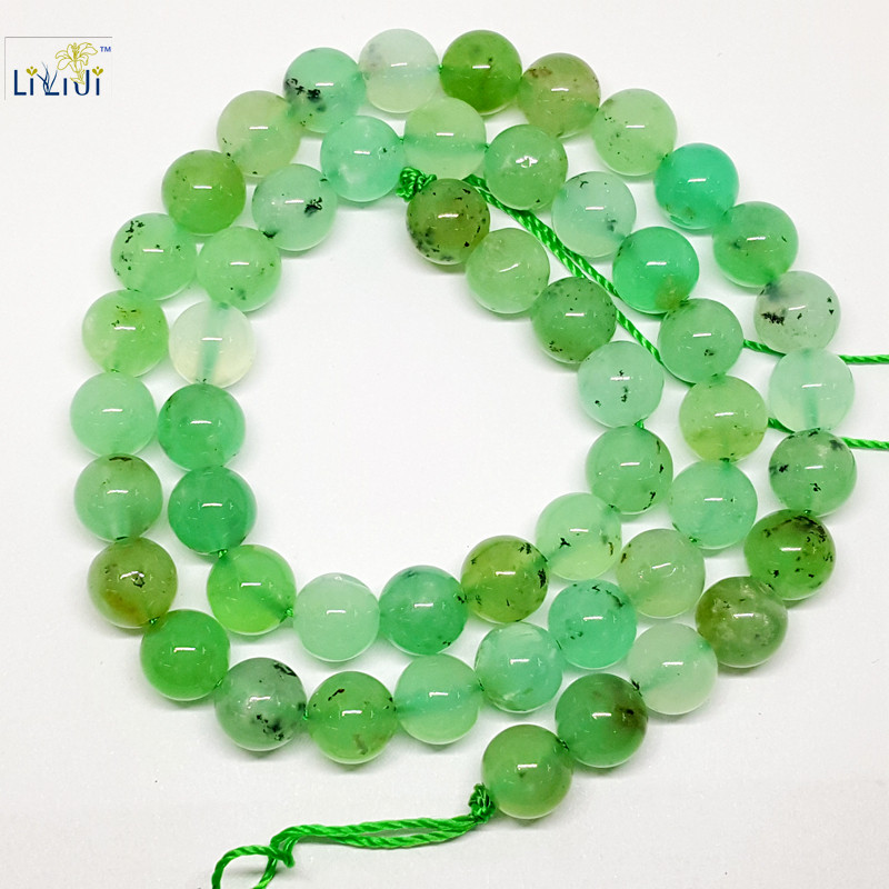 LiiJi Unique Natural Chrysoprases Round shape bead 8mm DIY Jewelry Making Necklace or Bracelet Approx 39cm все цены