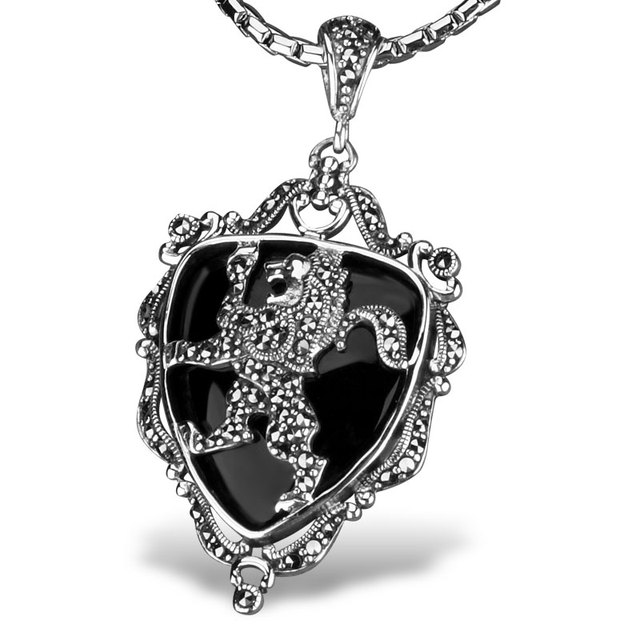 Bahamut  King Arthur Knight Badge Necklace Pendant 925 Sterling Silver Neckace