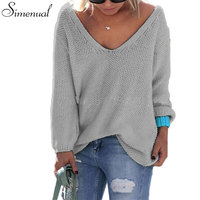 Casual New Slim Autumn Sweater 2016 V Neck Loose Solid 6 Colors Women S Sweaters And