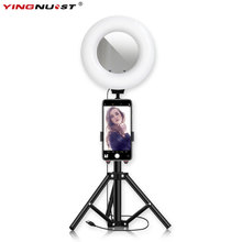 9'' Dimmable LED Ring Light With 8X Makeup Mirror 1.2M Tripod Stand Selfie Lamp For Makeup Lighting Phone Video Live Stream цена и фото