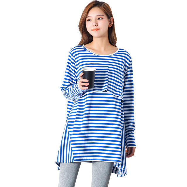 fee1f1ce91b Pengpious Maternity After Baby Born Plus Size Breastfeeding T-shirt Long  Sleeve Striped Cotton Nursing Tops Postpartum Women Tee