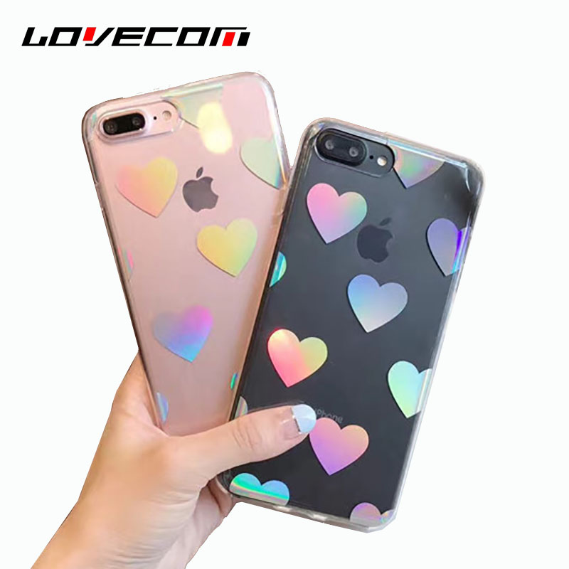 LOVECOM Holographic Laser Hearts Love Transparent Clear Phone Case Cover Coque For iPhone 6 6S 7 8 Plus X Soft TPU Shiny Cases