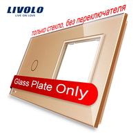 Livolo Luxury Golden Pearl Crystal Glass 151mm 80mm EU Standard 1Gang 1 Frame Glass Panel VL