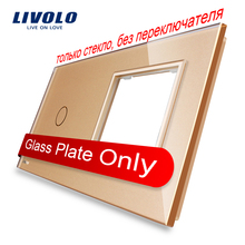 Livolo Luxury Golden Pearl Crystal Glass, 151mm*80mm, EU standard, 1Gang &1 Frame Glass Panel, VL-C7-C1/SR-13