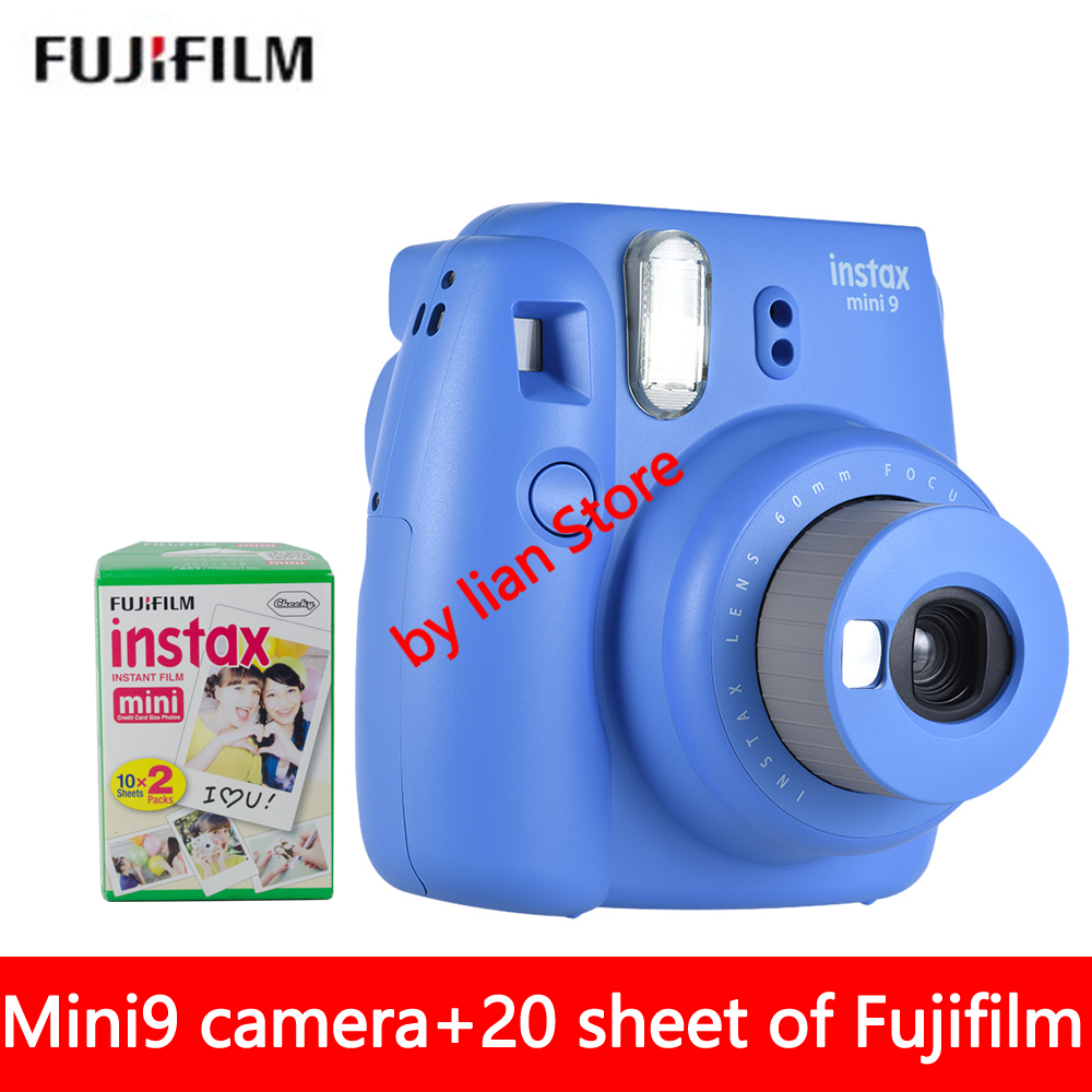 Fujifilm Instax Mini 9 Camera Fuji Instant Camera Film Cam with Close-up lens + 20 Sheets White Film Photo Paper Free shipping