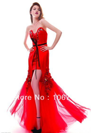 free Shipping 2016 Natural Satin New Fashion Vestidos Formal Special Occasion Sexy Slit Style Evening Party Gown Prom Dresses