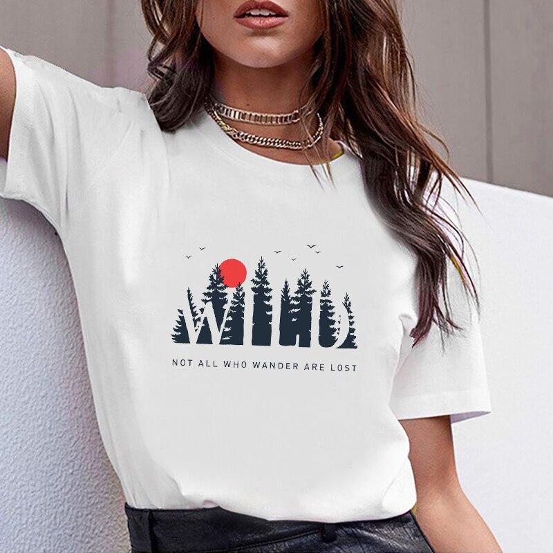 Women Clothes Print No Wander Lost Travel Print Summer Tshirt Printed Women Shirt T Female T-shirt  Top Casual Woman Tee