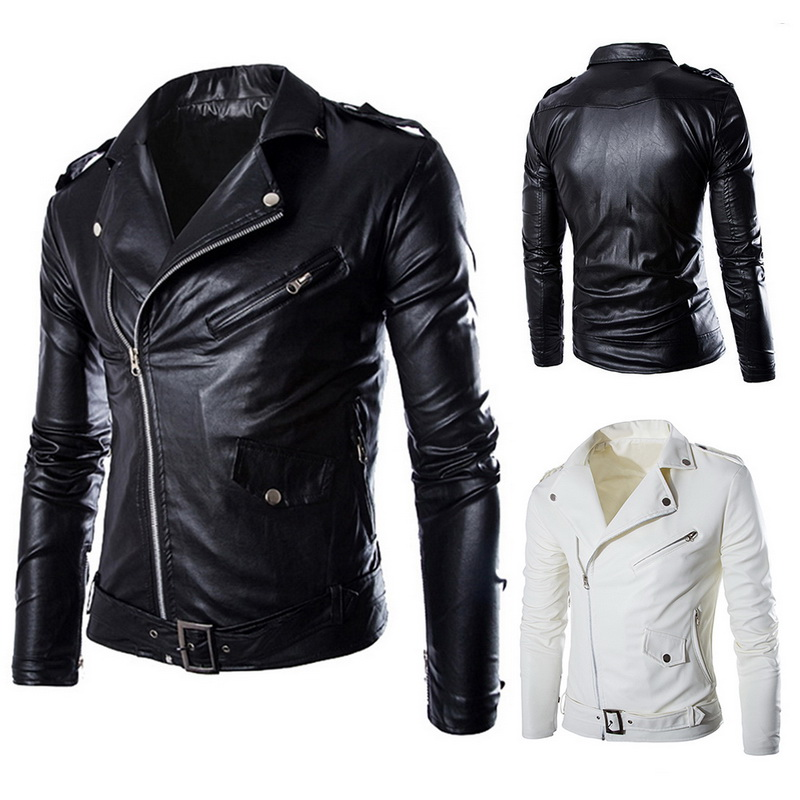 2018 Brand Autumn Spring Casual Zipper  Leather Jacket Motorcycle Leather Jacket Slim  Mens Jackets And Coats Black White