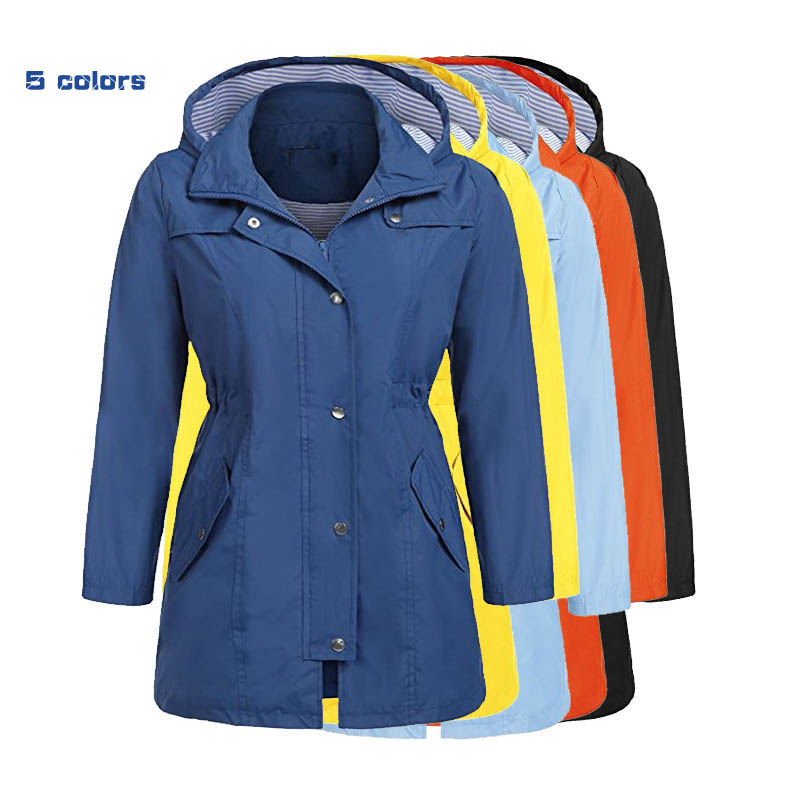 2018 Autumn Fashion Women New waterproof Coat Medium Long Casual Hooded Coat Female Slim   Trench