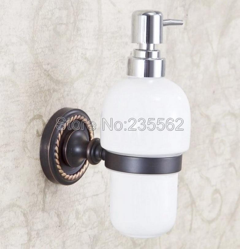 Oil Rubbed Brass Base Accessories Wall Mounted Ceramic Soap Dispenser Kitchen Sink Bath Liquid Pump lba218