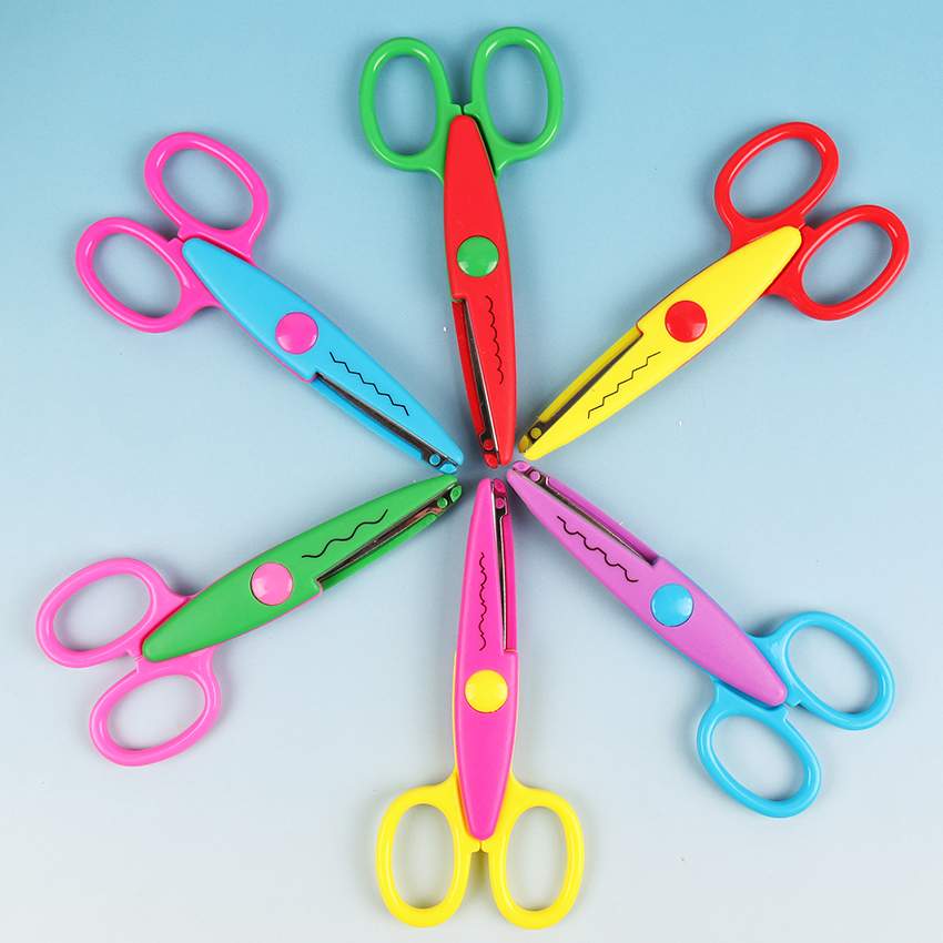 6 Patterns Child Safety Laciness Scissors Metal and Plastic DIY Scrapbooking Photo Colors Scissors Paper Lace Diary Decoration