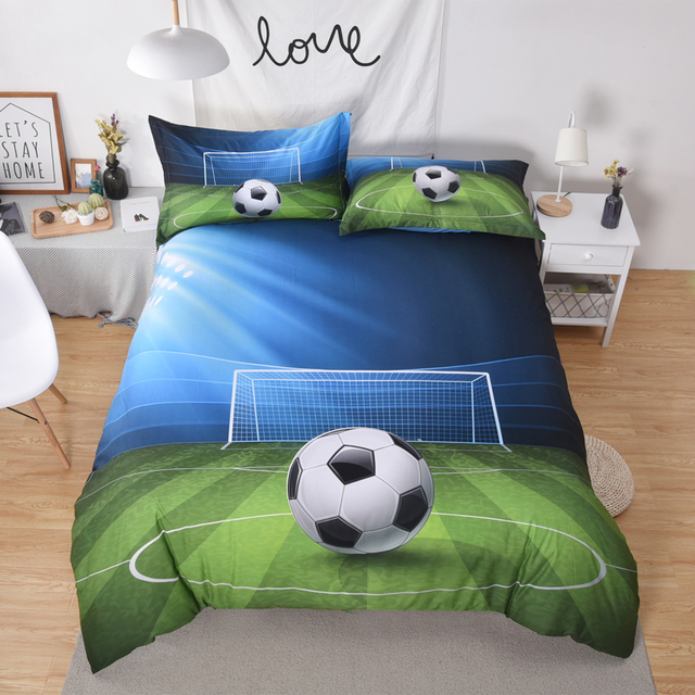 Football Soccer Bedding Sets 2 3pc Boy Bedspread Polyester Bedclothes Set