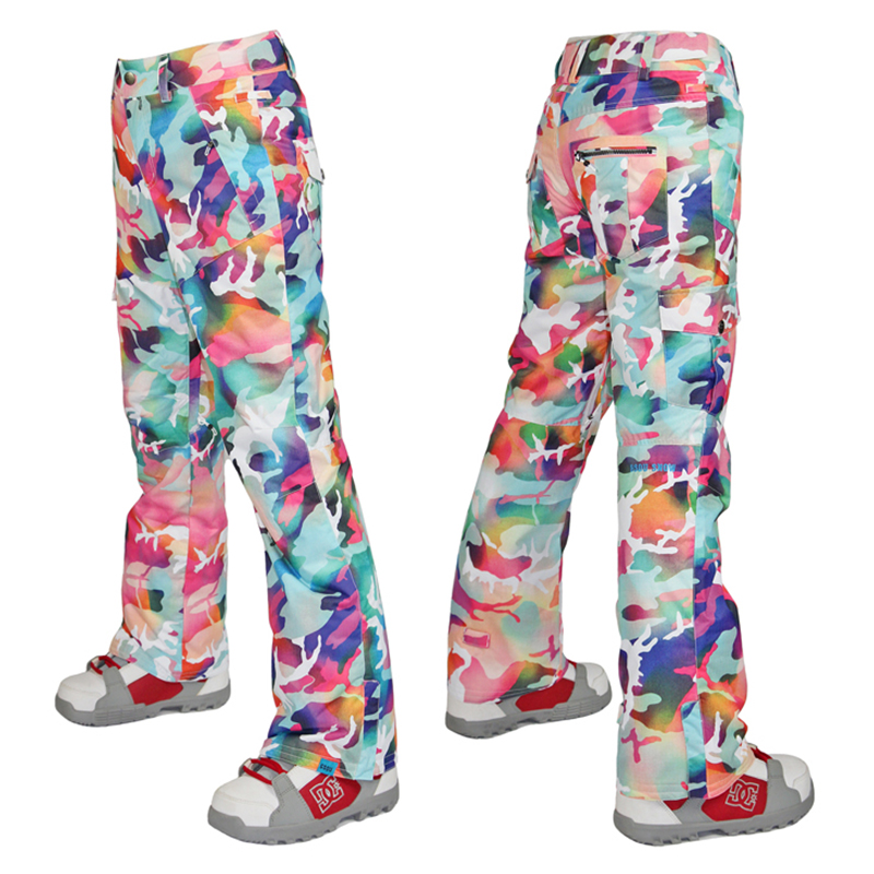 2016 Gsou Snow womens camouflage ski pants ladies snowboarding pants riding skating pants snow pants waterproof 10K top quality pants arma collection ladies pants