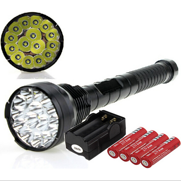 Super Bright LED Flashlight 18000 Lumens 4 x Rechargeable 18650 Batteries And Charger 15 * XML T6 LED Lamp Tactical Flashlight sitemap 46 xml