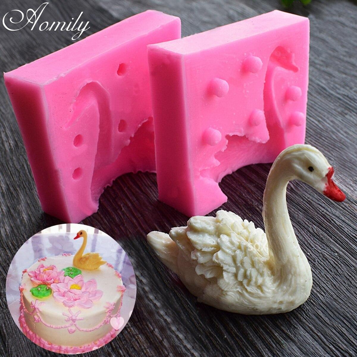 Aomily 3D прекрасного лебедя помадка силиконовые формы свеча Сахар Craft Tool шоколадный торт плесень Кухня DIY выпечки украшения Инструменты