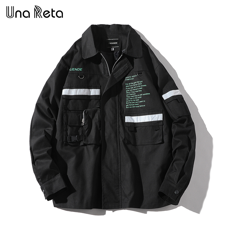 Una Reta Men's Jacket New Zipper Windbreaker Jackets Letter Overcoat Male Plus Size Hip Hop Brand Streetwear Jackets Coat