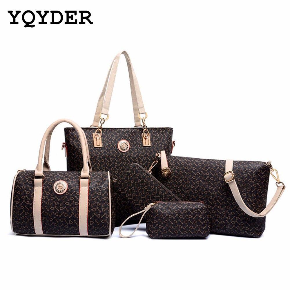 6 Sets Women Leather Neverfull Handbags Messenger Composite Bags women brand designer 2016 luxury Famous Brands