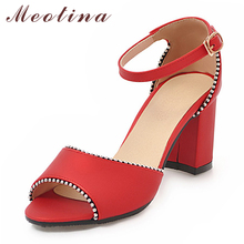 Купить с кэшбэком Meotina Summer Sandals Shoes Women Fashion Thick High Heel Party Sandals Buckle Ankle Strap Shoes Female Red Blue Plus Size 3-12