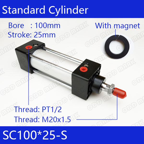 SC100*25-S Free shipping Standard air cylinders valve 100mm bore 25mm stroke single rod double acting pneumatic cylinder cdu bore 6 32 stroke 5 50d free mount cylinder double acting single rod more types refer to form