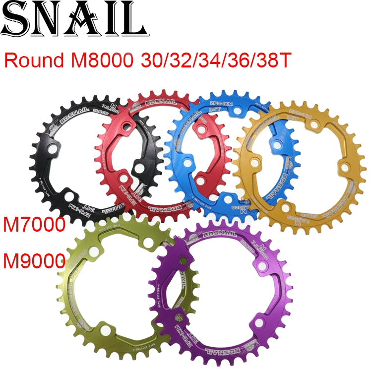 Snail <font><b>Chainring</b></font> Round for Shimano <font><b>M7000</b></font> M8000 M9000 30T/32T/34T/36T/38T 96 BCD tooth Narrow Wide Cycling Bike 96bcd Chainwheel image