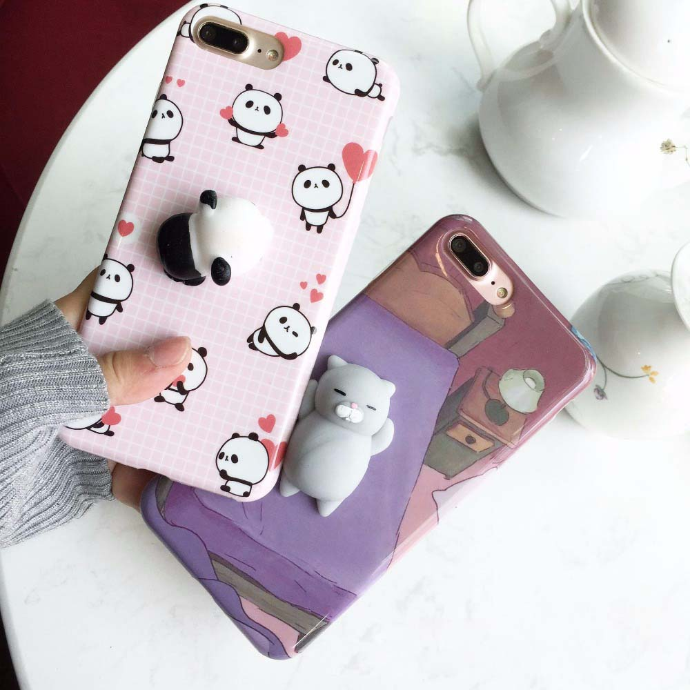 Squishy Cat Iphone X Case : Case For iPhone X 5S SE 6S 8 Plus Squishy Case Cute 3D Cat Stress Release Squishes Cover For ...