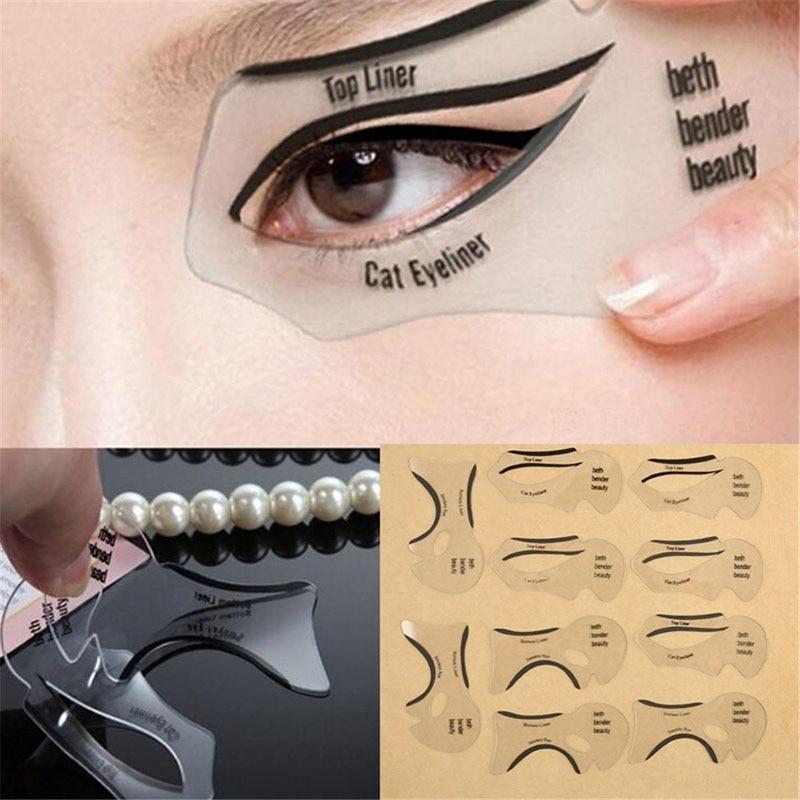 2 pçs pro eyeliner estênceis alado delineador estêncil modelos modelo de modelagem ferramentas sobrancelhas modelo cartão sombra de olho maquiagem ferramenta