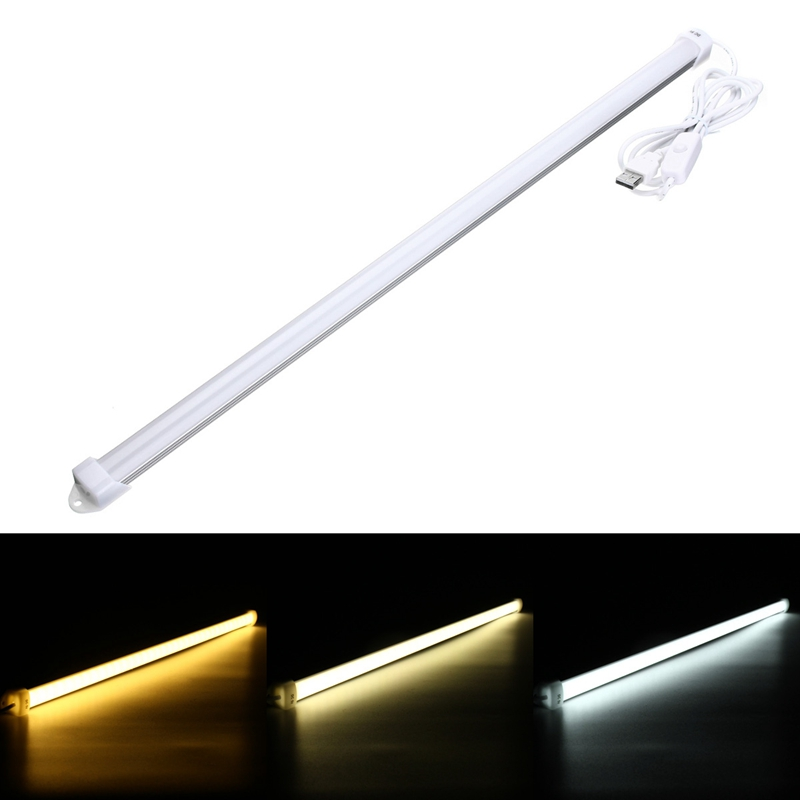 52cm Milky Shell Portable USB DC 5V 36 LED Bar Light Hard Strip Bar Light 5630 SMD Tube Light Lamp With On / Off Switch