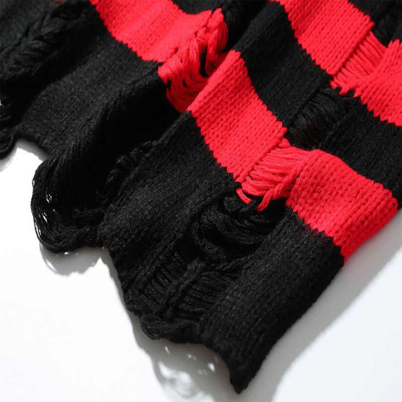 2019 New Ripped Streifen Stricken Pullover Männer Hip Hop Loch Casual Pullover Pullover Männlichen Mode Lose Langarm Pullover Rot schwarz