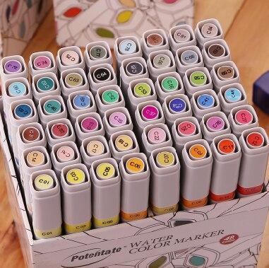 POTENTATE doppio-end a base di acqua maker pen 84/60/48/24/12 colore anime/paesaggio/building maker pen vestito