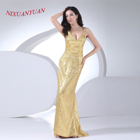 NIXUANYUAN 2017 Custom Made Gold Sequined Floor Length Gown Sweetheart Mermaid Bridesmaid Dress 2017 Long Vestido