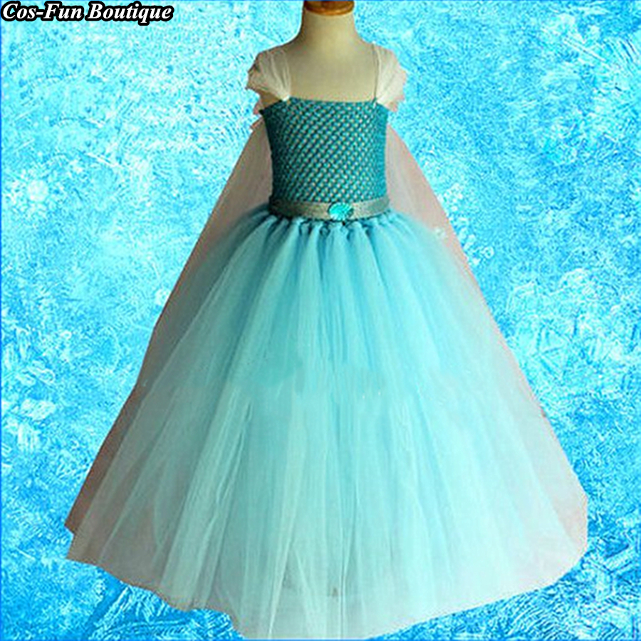 Handmade Tutu Girls Princess Dress Christmas Frozen Elsa Inspired Tutu Dress Princess Costume Snowflake Cape Birthday Party