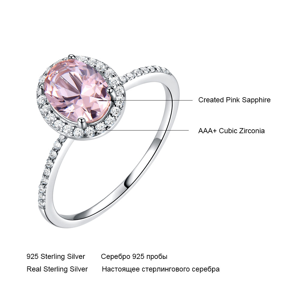925 Sterling Silver Oval Classic Pink  Created Sapphire Rings For Women