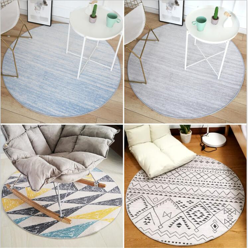 AOVOLL Round Carpet Bedroom Bedside Basket Mats Ins Nordic Simple Modern Living Room Swivel Mat For Bedroom Decoration Area Rugs