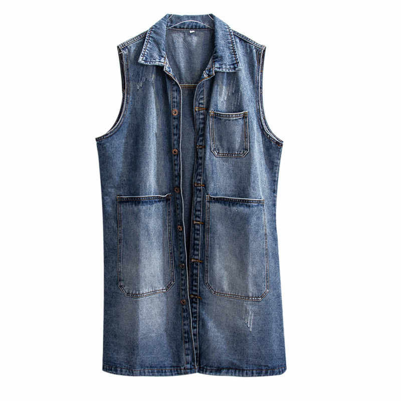 Frauen Lose Denim Westen Frühling Herbst Schlank Single breasted Ärmellose Jacke 2019 Damen Wilden Medium lange Denim Weste JIA239