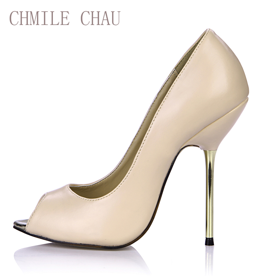 CHMILE CHAU Sexy Party Shoes Women Peep Toe Stiletto High Iron Heels Dating Ladies  Pumps Plus aa8856ae5a8c