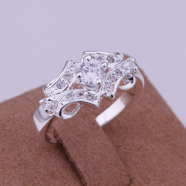Free Shipping 925 jewelry silver plated Jewelry Ring Fine Fashion Silver Plated Zircon Women&Men Finger Ring Top Quality SMTR146