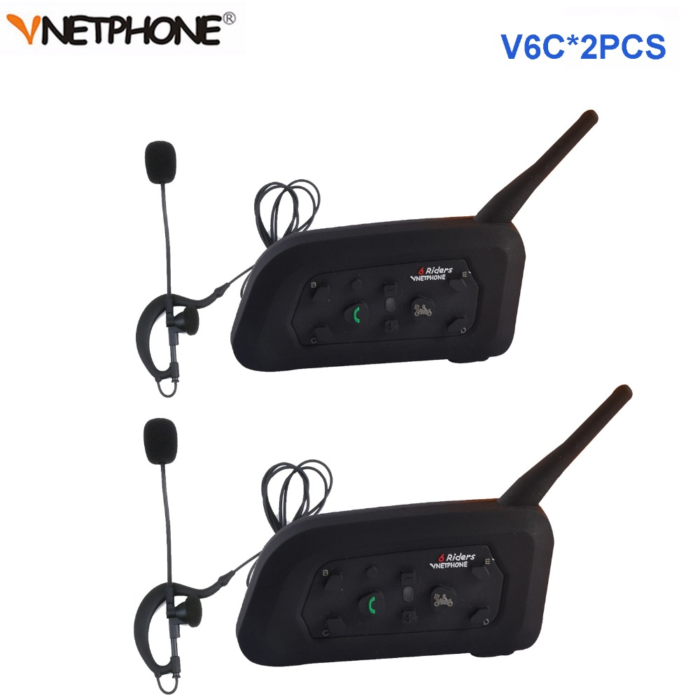 2 pièces Vnetphone V6C professionnel Football arbitre Interphone duplex complet 1200 M arbitres casque sans fil BT Interphone Interphone