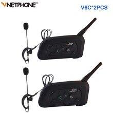 2 個vnetphone V6Cプロサッカーの審判インターホン全二重 1200 メートル審判ヘッドセットワイヤレスbtインターホンインターホン