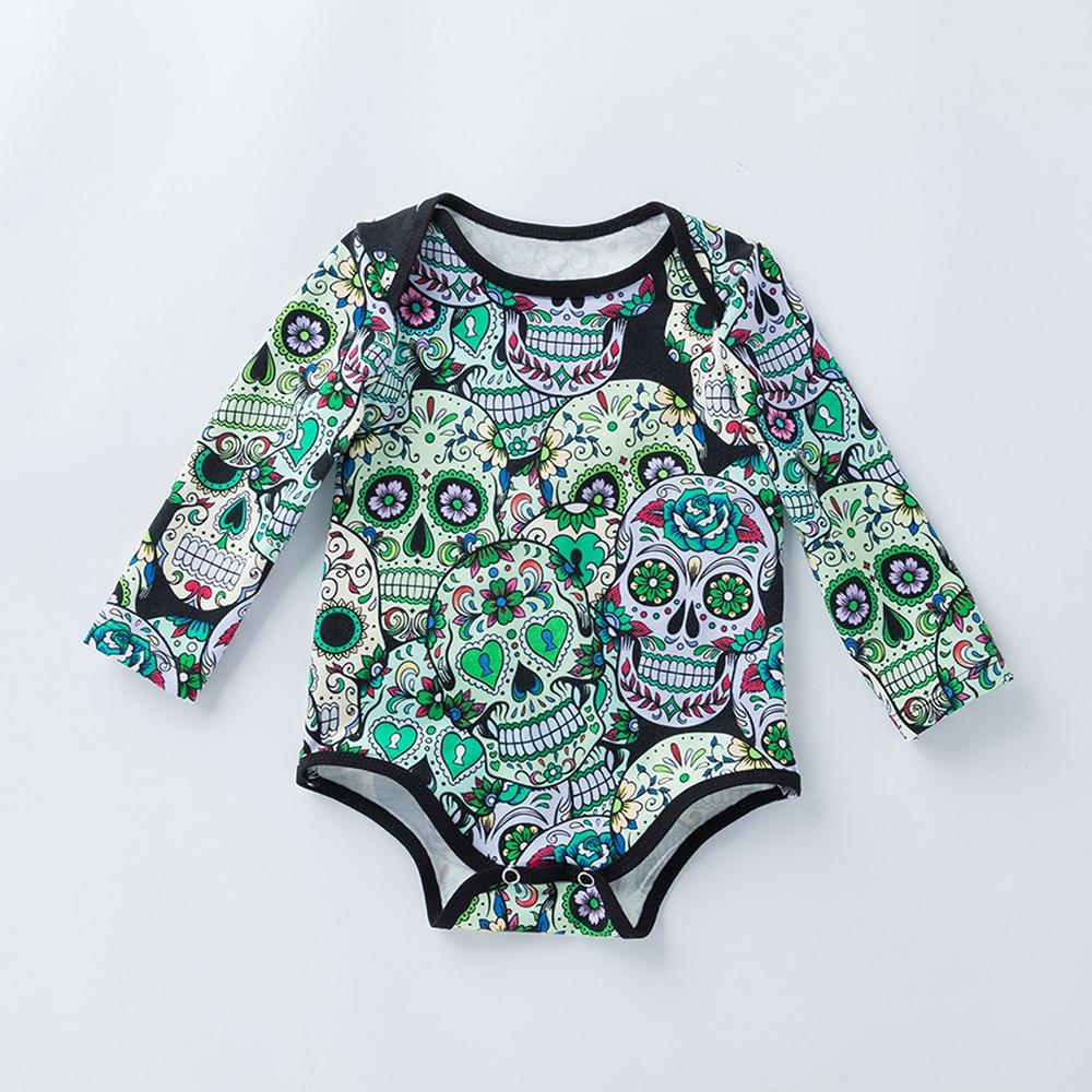 Skull Print Romper Infant Girls Halloween Bodysuit Novelty Baby Clothes Halloween Carniv ...